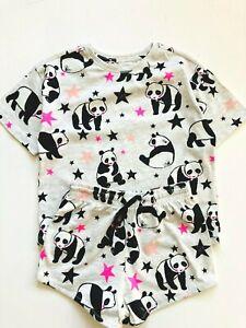 Girls Short Pyjamas NEW  Ex Chainstore Age 4 to 16 Years Grey Panda
