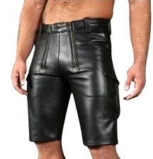 Men's Real Leather Carpenter Shorts With Cargo Pockets Gay Interest Shorts