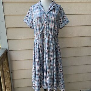 Collectif Caterina Vintage Check Swing Dress Short Sleeve Retro Plaid 14