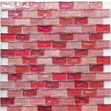 Hammered Pink Mosaic glass in sheets 30x30cm in Bricks 23x48mm  FREE Delivery