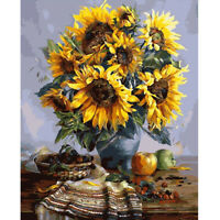 Sun Flower 40x30cm DIY Paint By Numbers Oil Painting Kit Canvas R1BO