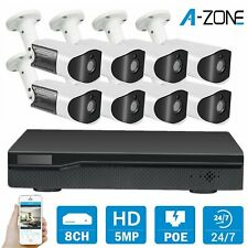 A-ZONE H.265+8CH 5MP NVR 2TB 1080P POE Outdoor IP Network Security Camera System