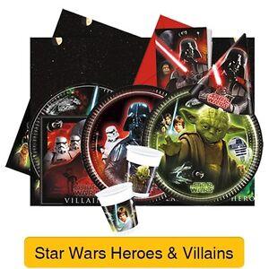 Star Wars HEROES & VILLIANS Birthday Party Range Tableware Supplies Decorations
