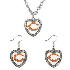 New Chicago Bears Crystal Heart Simulated Diamond Necklace & Earring Jewelry Set