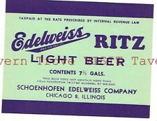 Ritz Light Beer IRTP 7¾ Gallon Schoenhofen Edelweiss Co. Chicago 8 IL #87