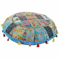 "Indian Round 32"" Handmade Floor Cover Vintage Cotton Ottoman Patchwork Stool Art"