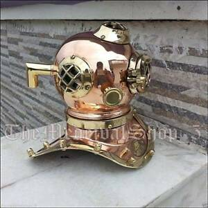 Mini U.S Navy Solid Copper and Brass Divers Diving Helmet Vintage Style Gift New