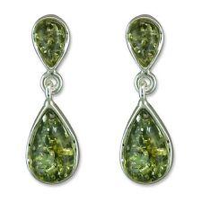 Sterling silver green amber double teardrop stud earrings
