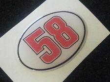 1 Adesivo Stickers SIMONCELLI 58 Honda SIC Tribute 3D Resinato