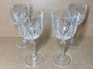 4 Crystal Cut Glass Wine Glasses/Goblets Vintage