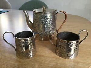 Antique 1925 RSP & CO Raeno embossed EPNS silver plated tea/coffee set