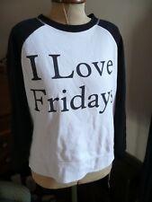 Black and White I LOVE FRIDAYS Boxy Raglan Sleeve Sweatshirt Sweat Top 12