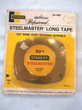 "NEW! 1979 STANLEY 50' x 3/8"" PROFESSIONAL STEELMASTER LONG TAPE MEASURE 34-350"