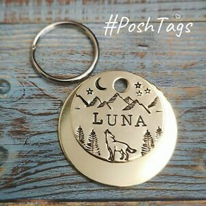 Wolf mountains moon stars 3 sizes handmade stamped pet cat dog tags ID PoshTags