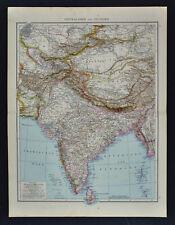 1881 Andrees Map - India Nepal Tibet Afghanistan Bhutan Burma China Mt. Everest
