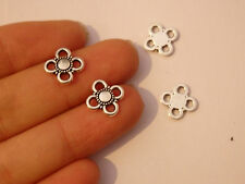 10 flower tibetan silver charms pendants antique jewellery making bulk UK -74
