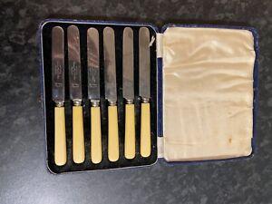 Set 6 Wardonia Thomas Ward & Sons Sheffield Stainless Butter/Tea Knives-boxed