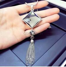Korea Style Fashion Long Tassel Square Crystal Necklace Sweater Chain Accessory