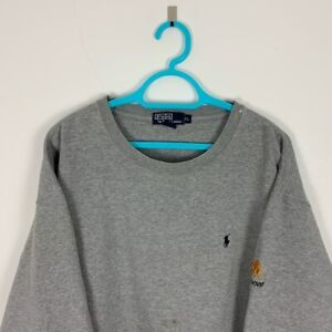 Vintage Polo Ralph Lauren Grey 'Grandover' Embroidered Crew Neck Sweatshirt