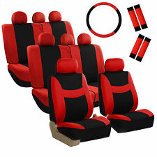 8Seater Red Black 3 Row Fabric Seat Covers w/1Steering Wheel & 4Seat Belt Pads