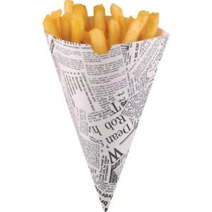 Paper Chip Cones - Newspaper Print - Pack of 1000 - Disposable