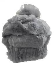 Northstar Women's Chinchilla/Fox Fur Fashion Beanie Hat w/ Pom, Grey. H-33-GRY