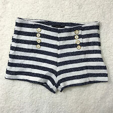 Forever 21 Sailor Shorts Striped Nautical Blue White Gold Button Sz Small Lined