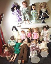 big lot of very pretty vintage dolls in beautiful dresses porcelain rubber vinyl