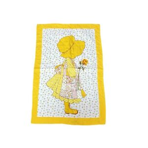 Handmade Yellow Holly Hobbie Blanket Bonnet Hat Floral Quilt Crib Throw Cover