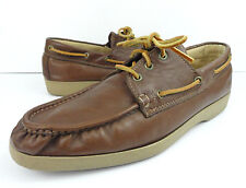 Vtg HUSH PUPPIES Leather Boat Loafers Oxford Comfort Shoes 9 - 9.5 M USA SOFT!