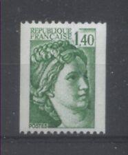 FRANCE TIMBRE ROULETTE 2157a N° rouge au verso SABINE vert foncé - LUXE **