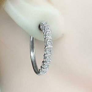 LARGE .75ctw 14K White Gold Plate H-SI Diamond 925 Sterling Silver Hoop Earrings