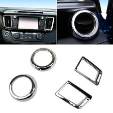 Fit For 13- Toyota RAV4 Chrome Front Air Vent Outlet Cover Trim Dashboard Frame