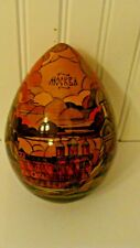 """1993 Russian Wood Lacquer Hand Painted Egg Written Moscow & Kremlin 6.7"""", Signed"""