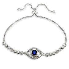Sterling Silber  Blau Kubisch Zirkonia Teufelsauge Verstellbares Armband