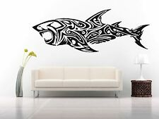 Wall Room Decor Art Vinyl Sticker Mural Decal Fish Tribal Tattoo Shark FI491