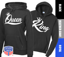King & Queen Crown couples sweatshirt Gift US Men Women Hoodies love Sweater Top