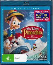 Disney's Pinocchio (2 Blu Ray & 1 Dvd Set ) New Region B Free Post
