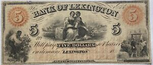 1860 $5 Bank of Lexington, North Carolina Obsolete Note