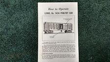 LIONEL # 3434 POULTRY CAR  INSTRUCTIONS PHOTOCOPY
