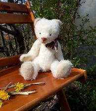 White classic handmade growling teddy  bear. Classic mohair teddy bear 13 in