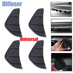 Universal 4PCS Rear Bumper Diffuser Triangle Shark Fin 4 Wing Splitter Black PVC