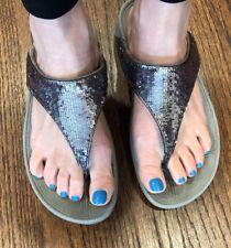 FITFLOP Electra Silver Sequin Sandals Flip Flops Women's US 9