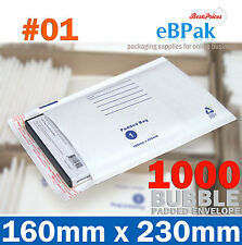 1000 #01 160x230mm Bubble Padded Bag * SIZE 01 White Kraft Envelope Mailer