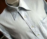 MEDIUM MT True Vtg 70s Mens BABY BLUE DIAMOND RIBBED ENRO BUTTON DOWN GEEK SHIRT