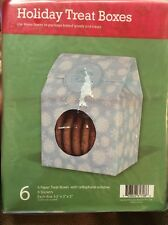 Lot of 2 Holiday Treat Boxes with Cellophane Window Blue Snowflakes 12 count