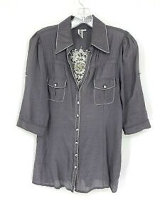 BKE Womens Button Front Embellished Blouse Size Large Gray