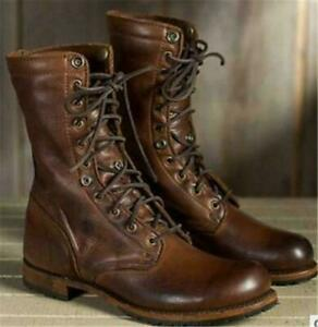 Retro Men'S Combat Boots Lace Up Military Ankle Mid Calf Retro Round Toe Shoes