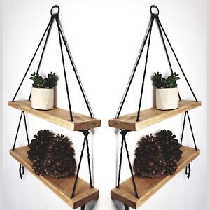 2 Tier Hanging Rope Shelves Rustic Vintage Brushed Wood Floating Shelf HANDMADE