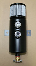 Dual front aluminum baffled oil catch can breather can w/ drain valve and filter